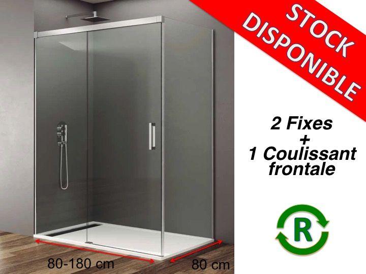 paroi de douche accessoires largeur 80 longueur 80 180 cm porte de douche coulissante avec 2. Black Bedroom Furniture Sets. Home Design Ideas