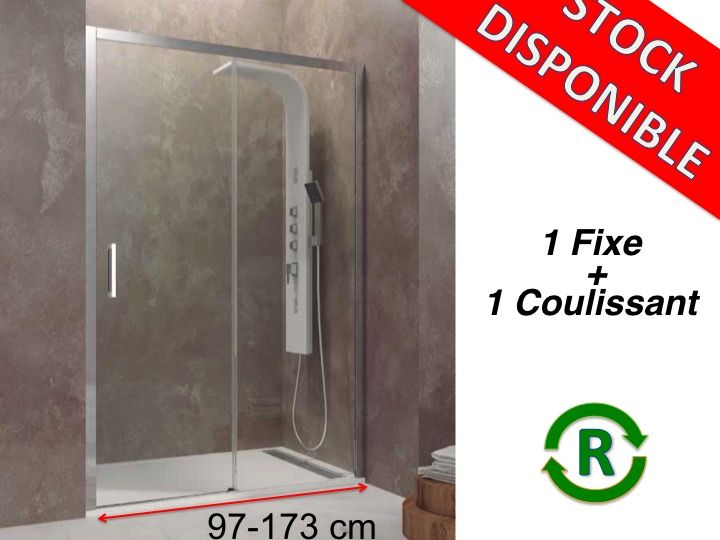 paroi de douche accessoires longueur 97 173 cm porte de douche coulissante avec fixe hauteur. Black Bedroom Furniture Sets. Home Design Ideas