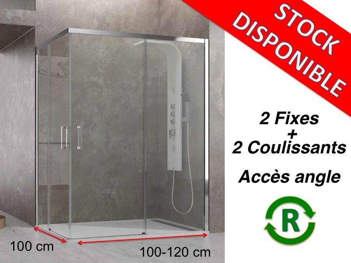 paroi de douche accessoires largeur 100 longueur 100 120 cm porte de douche coulissante avec. Black Bedroom Furniture Sets. Home Design Ideas
