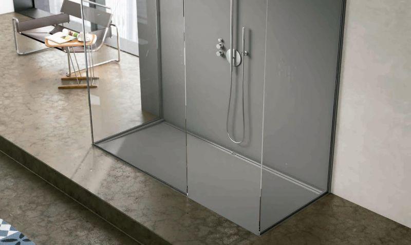 receveur de douche 120 cm en r sine caniveau lat ral style extra plat noir. Black Bedroom Furniture Sets. Home Design Ideas