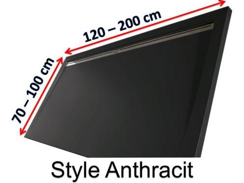 receveur de douche 140 cm en r sine caniveau lat ral style extra plat anthracite. Black Bedroom Furniture Sets. Home Design Ideas