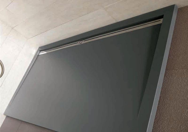 receveur de douche 180 cm en r sine caniveau lat ral style extra plat blanc. Black Bedroom Furniture Sets. Home Design Ideas