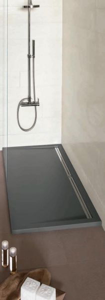 receveur de douche 200 cm en r sine caniveau lat ral style extra plat anthracite. Black Bedroom Furniture Sets. Home Design Ideas