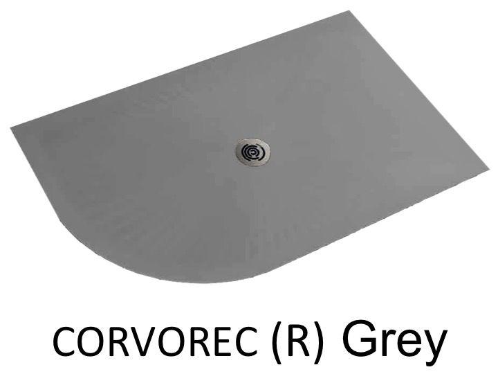 receveur de douche 120 cm en r sine avec courbe quart de rond corvorec gris. Black Bedroom Furniture Sets. Home Design Ideas