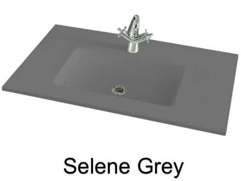vasques largeur 70 plan vasque suspendue ou encastrer largeur 70 cm en r sine selene gris. Black Bedroom Furniture Sets. Home Design Ideas