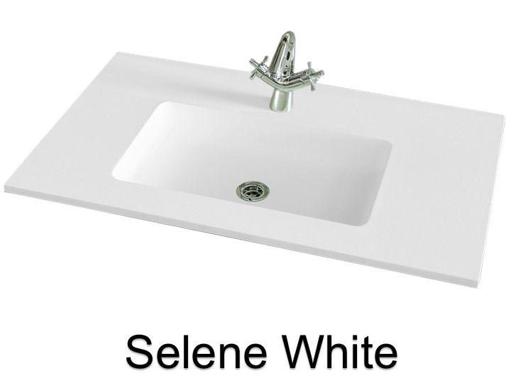 vasques largeur 80 plan vasque suspendue ou encastrer largeur 80 cm en r sine selene blanc. Black Bedroom Furniture Sets. Home Design Ideas