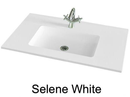 vasques largeur 120 plan vasque suspendue ou encastrer largeur 120 cm en r sine selene blanc. Black Bedroom Furniture Sets. Home Design Ideas