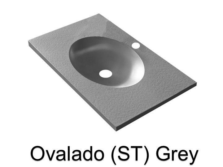 vasques largeur 70 plan vasque suspendue ou encastrer largeur 70 cm en r sine ovalado st gris. Black Bedroom Furniture Sets. Home Design Ideas