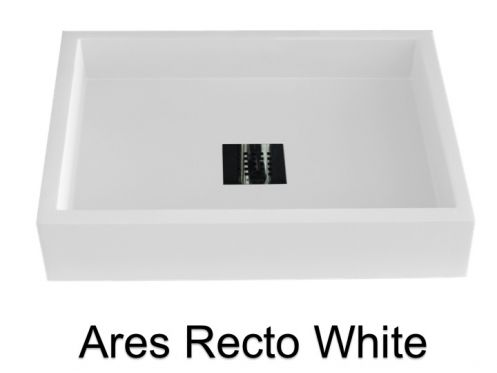 vasques largeur 50 lavabo largeur 50 cm profondeur 38 cm en r sine ares recto blanc. Black Bedroom Furniture Sets. Home Design Ideas