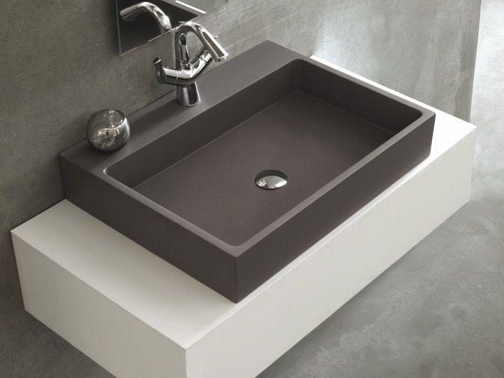 vasques largeur 60 lavabo largeur 60 cm profondeur 46 cm en r sine titan gris. Black Bedroom Furniture Sets. Home Design Ideas