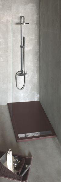 receveur de douche 120 cm en r sine caniveau extra plat senda lisso noir. Black Bedroom Furniture Sets. Home Design Ideas