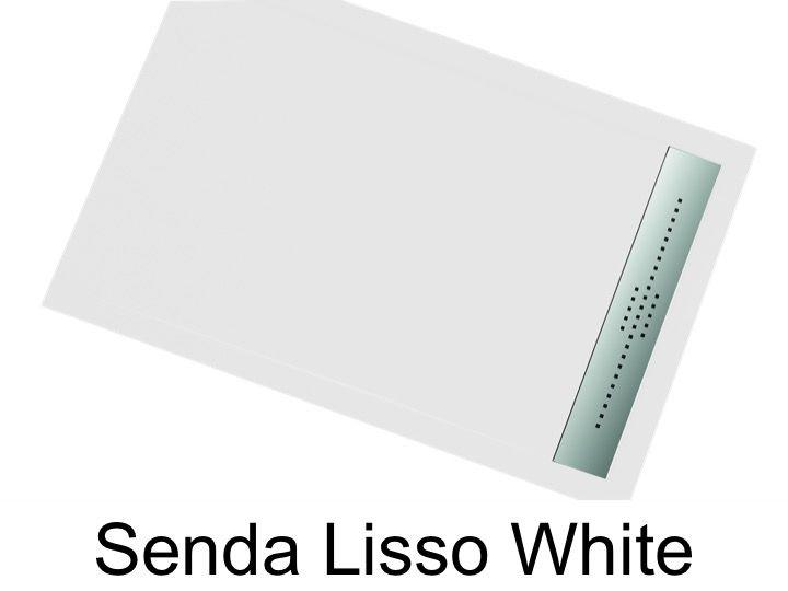 receveur de douche 130 cm en r sine caniveau extra plat senda lisso blanc. Black Bedroom Furniture Sets. Home Design Ideas