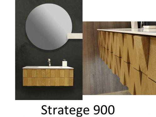 Meuble de salle de bain au design original en ch ne - Meuble salle de bain en chene massif ...