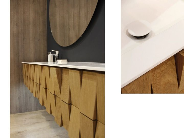 Meuble de salle de bain au design original en ch ne massif suspendu 90 cm stratege 900 for Meuble suspendu salle de bain design