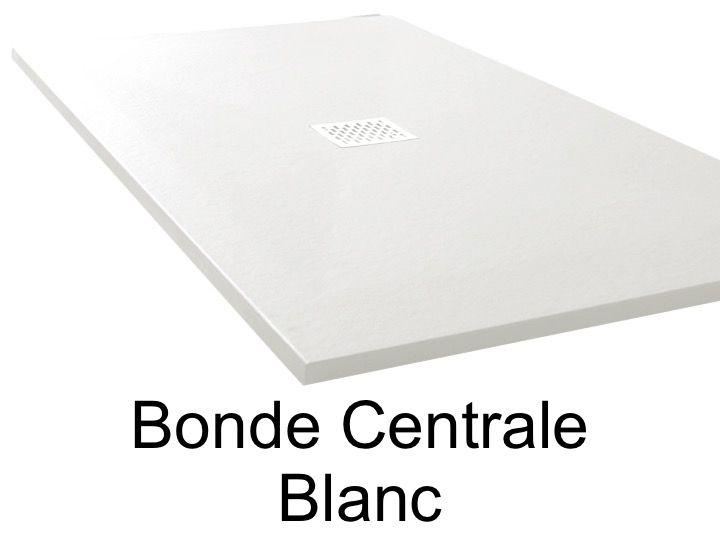 Receveur De Douche 120 Cm En Resine Bonde Centrale Blanc