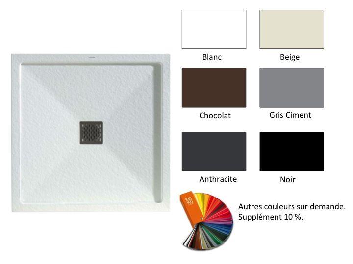 receveur de douche carr avec bordure bonde centrale. Black Bedroom Furniture Sets. Home Design Ideas