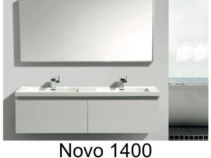 meuble de salle de bain suspendu de 140 cm avec quatre tiroirs et une double vasque blanc. Black Bedroom Furniture Sets. Home Design Ideas