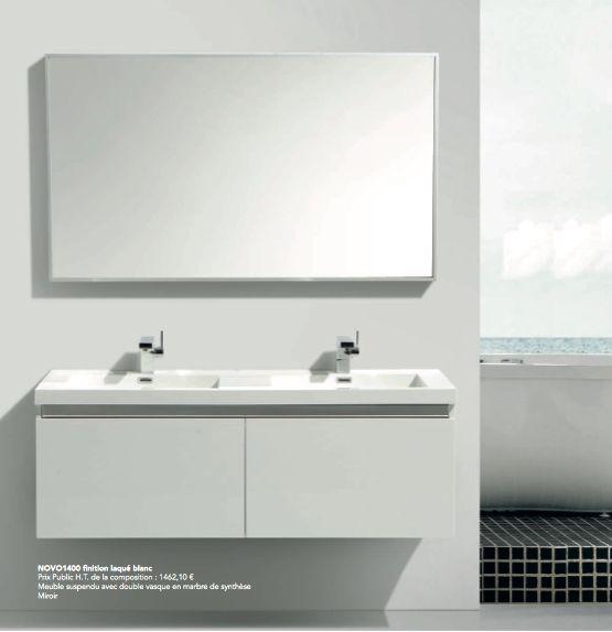 meuble de salle de bain suspendu de 140 cm avec quatre tiroirs et - Meuble Double Vasque 140 Cm
