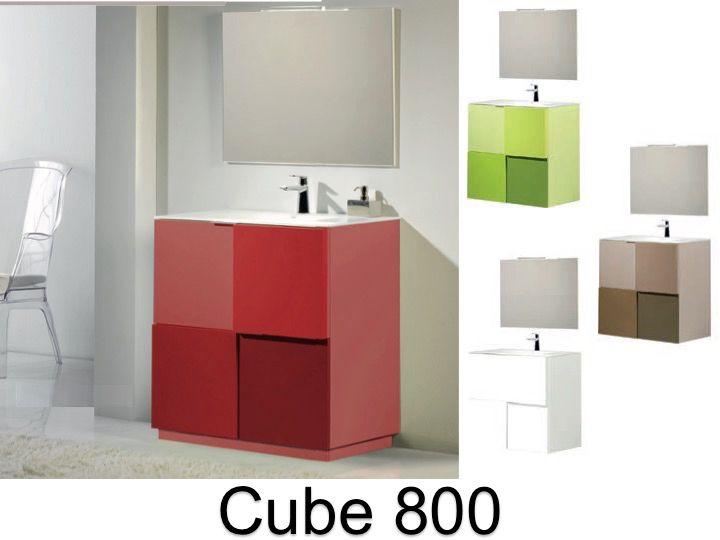 Meuble salle de bain en 80 cm poser au sol cube 800 - Meuble salle de bain vasque a poser ...