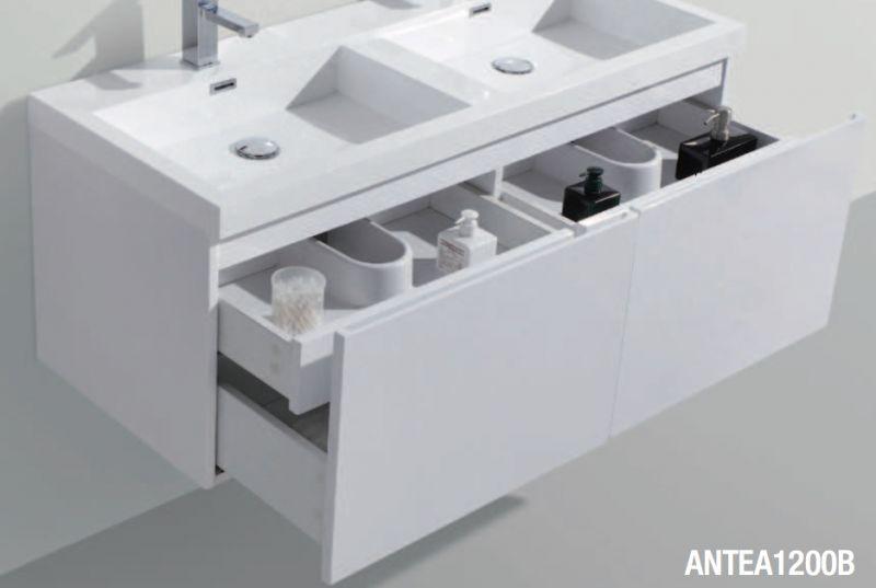 Meuble Salle De Bain En 120 Cm Double Vasque Suspendu Deuxtiroirs