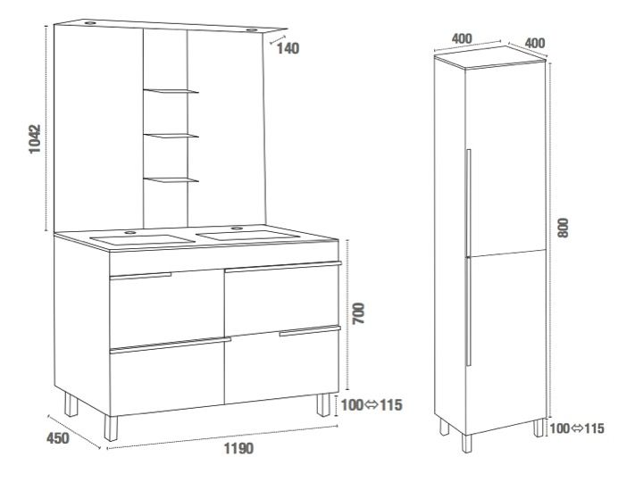 hauteur d un meuble de salle de bain perfect hauteur de meuble salle de bain pour idee de salle. Black Bedroom Furniture Sets. Home Design Ideas