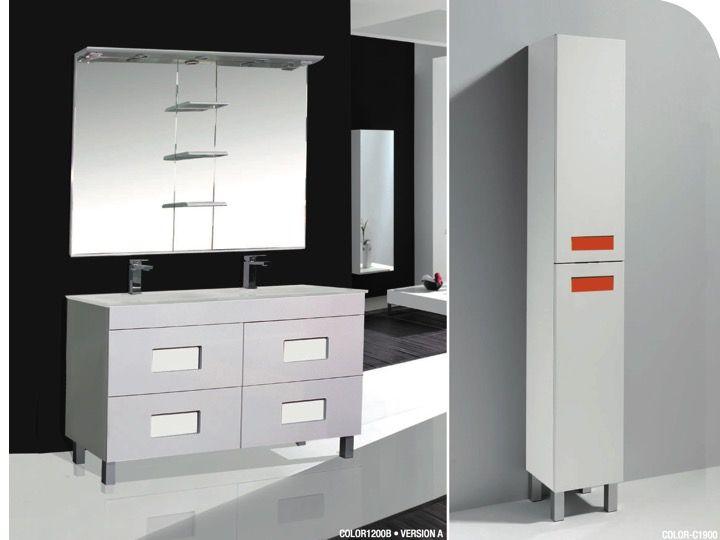 Meuble de salle de bains poser avec double vasque et miroir color 1200 - Meuble salle de bain vasque a poser ...