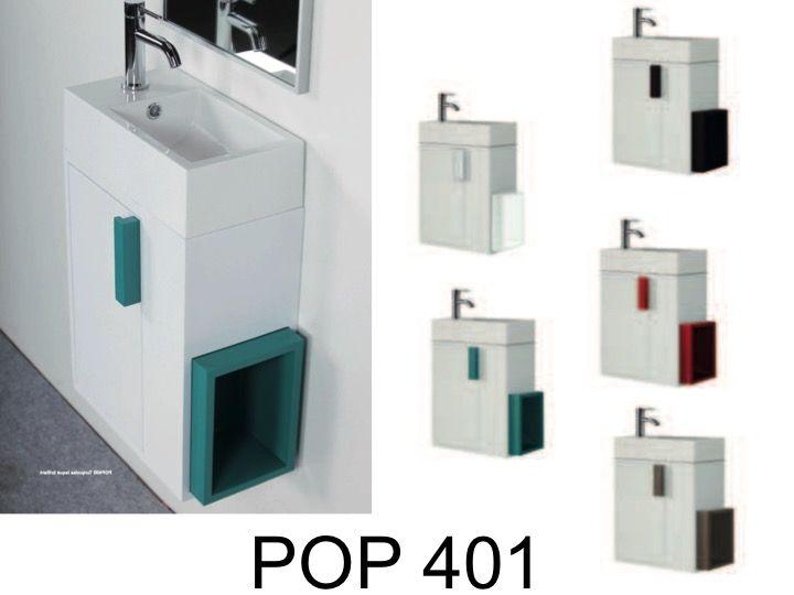 Meuble lave mains suspendre avec vasque pop 401 gauche - Meuble vasque lave main ...