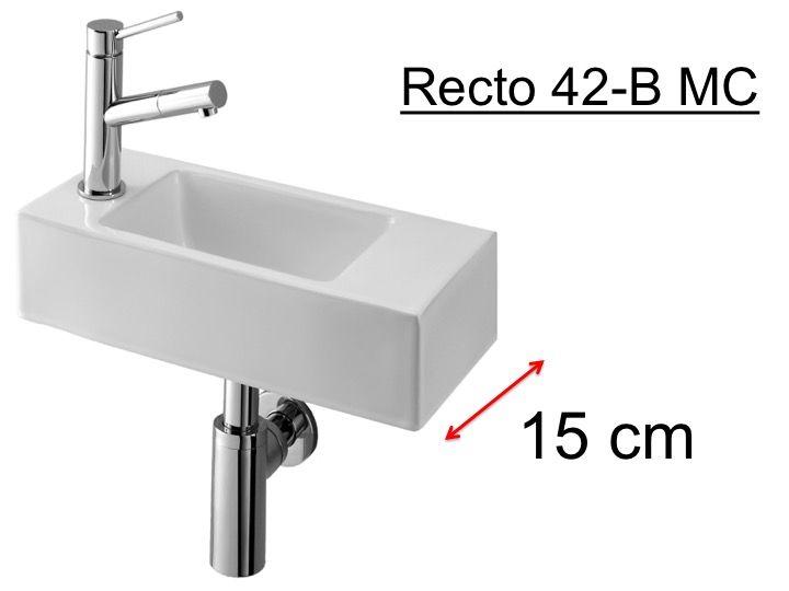 Lave mains tr s fin 15 cm de largeur design pur en r sine recto 42 b bensesan for Vasque petit espace