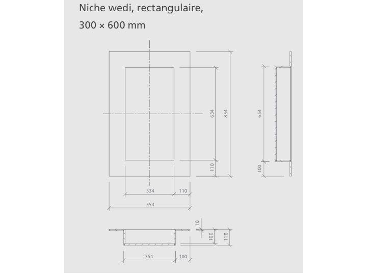 Niches de douche rectangulaire à carreler Wedi - 30 x 60 cm ...