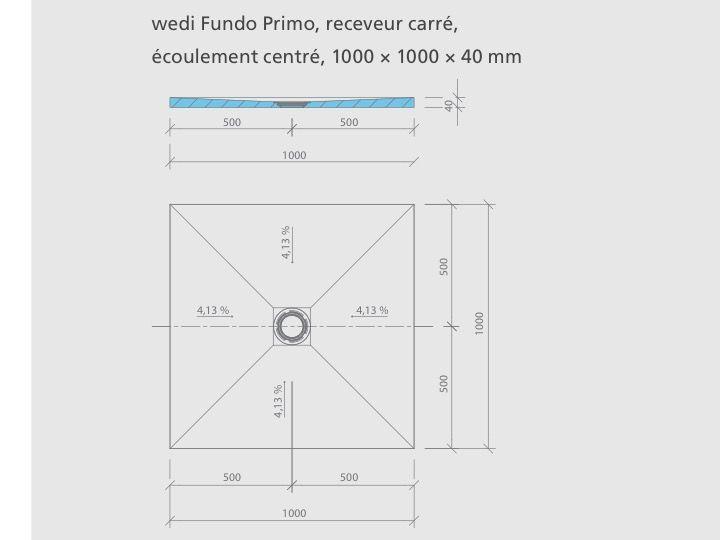 receveur de douche carreler format carr coulement. Black Bedroom Furniture Sets. Home Design Ideas