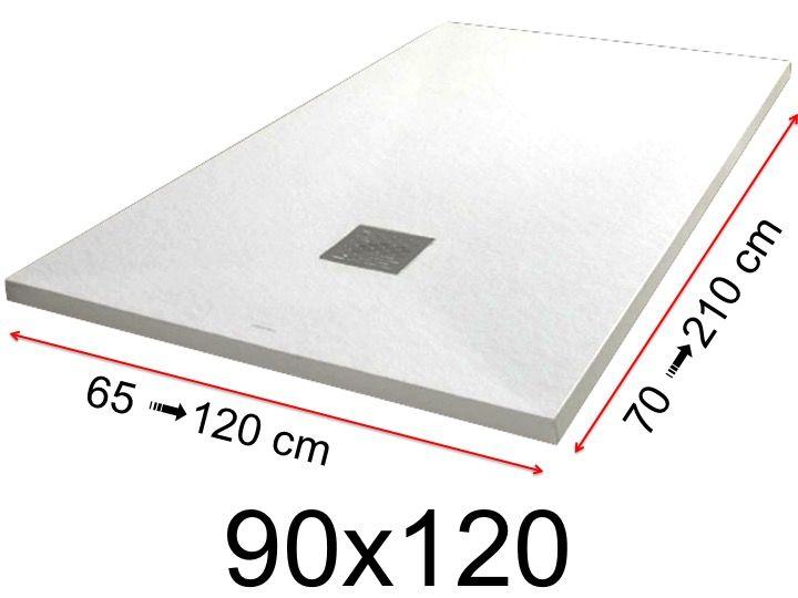 receveur de douche 90x120 cm 900x1200 mm en r sine min rale extra plat pierre blanc. Black Bedroom Furniture Sets. Home Design Ideas