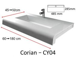 Plan vasque Solid Surface, r�sine min�rale type Corian - Puzzle caniveau Acrymold CY04, blanc.
