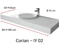 Plan vasque Solid Surface, r�sine min�rale type Corian - Puzzle Acrymold IY02, blanc.