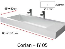 Plan vasque Solid Surface, r�sine min�rale type Corian - Puzzle Acrymold IY05, blanc.