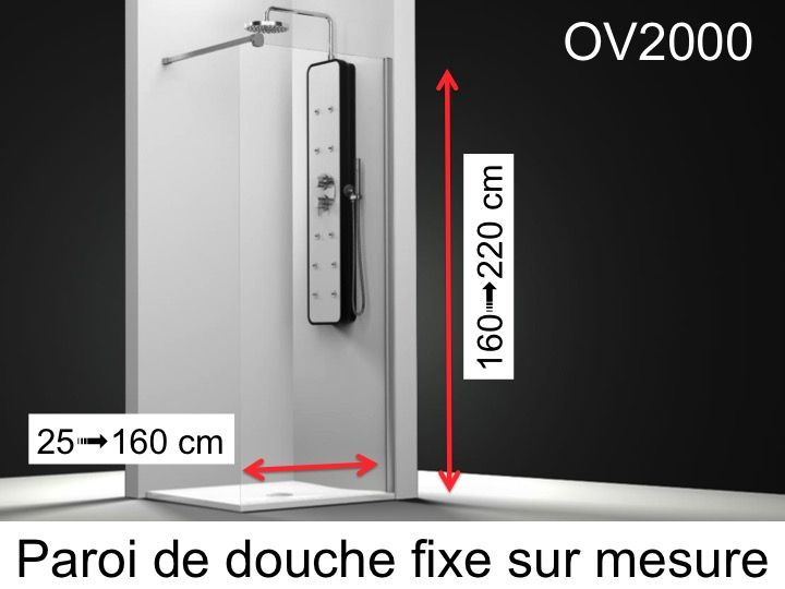 paroi de douche longueur 50 paroi de douche fixe 50 x 195 cm sur mesure verre securit de 6mm. Black Bedroom Furniture Sets. Home Design Ideas