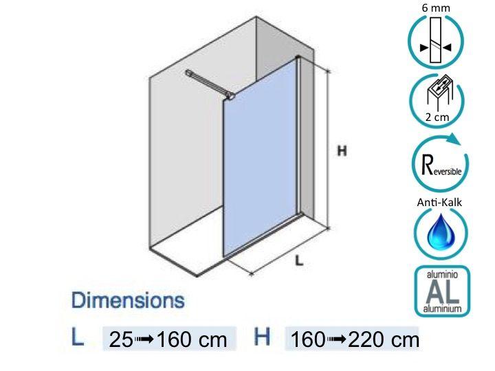 Paroi de douche longueur 80 paroi de douche fixe 78 x 195 cm verre securit - Traitement anti calcaire paroi de douche ...