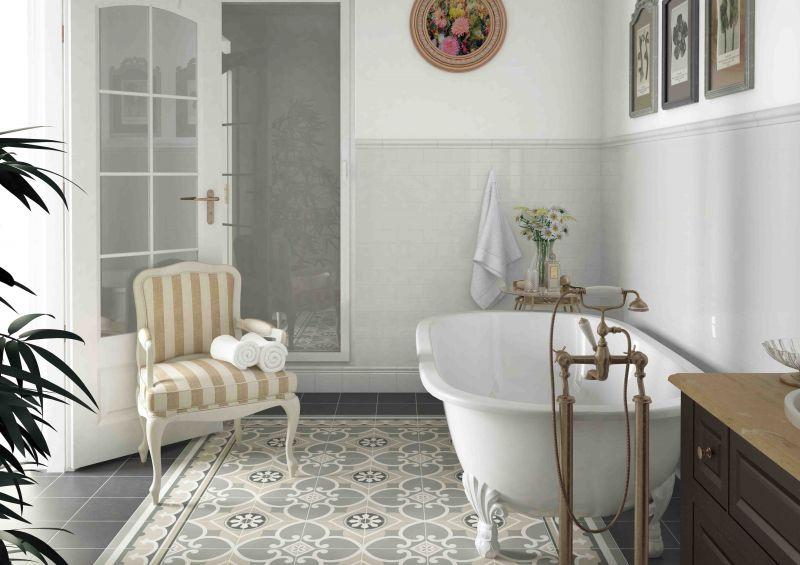 Carrelage salle de bains caprice motif pictures to pin on - Gres cerame imitation carreau ciment ...