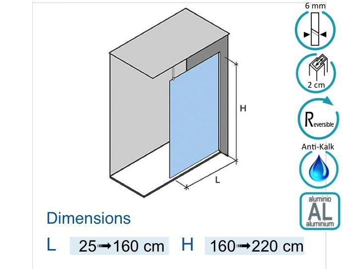 paroi de douche longueur 50 paroi de douche fixe 50x195 cm sur mesure barre stabilisatrice. Black Bedroom Furniture Sets. Home Design Ideas