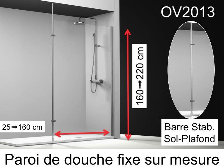 paroi de douche longueur 25 paroi de douche fixe 25x195. Black Bedroom Furniture Sets. Home Design Ideas