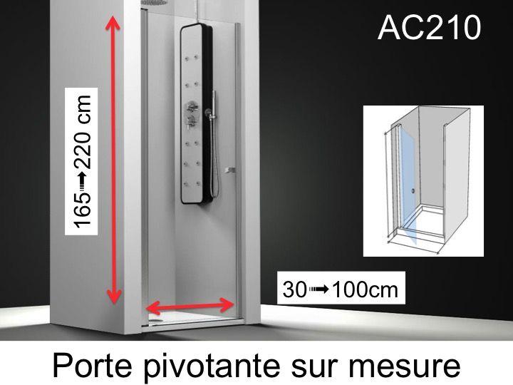 Paroi de douche longueur 60 porte de douche 60 x 195 cm sur mesure pivotante int rieur et - Porte de douche sur mesure ...