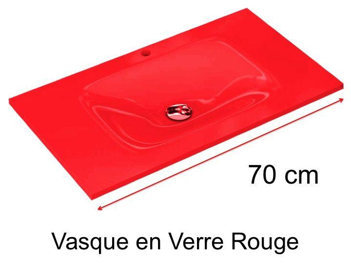 Vasque En Verre 46 X 70 Pour Meuble De Salle De Bain Rouge