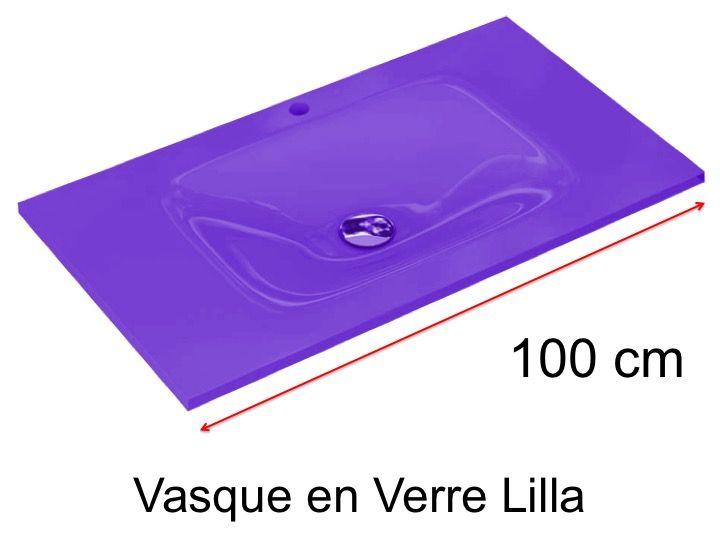 Vasque en Verre 46 x 100, pour meuble de salle de bain - Lilla