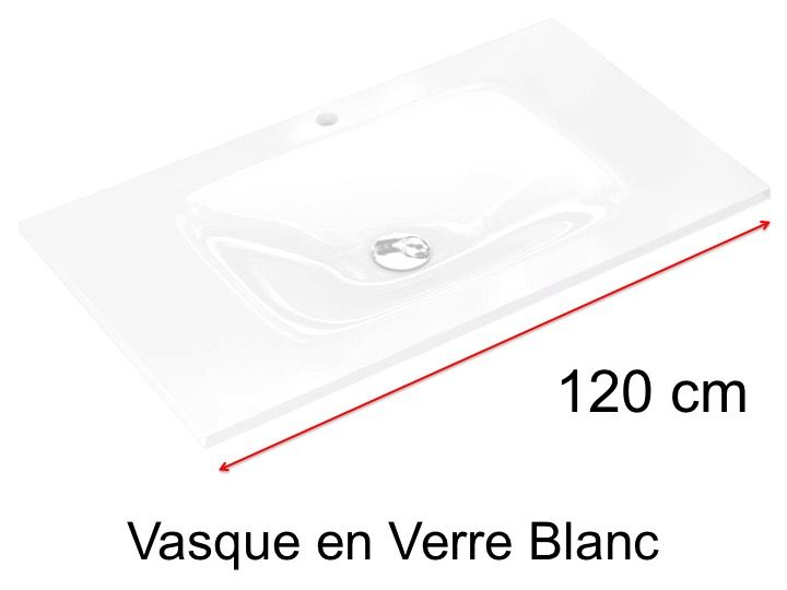 Vasque En Verre 46 X 120 Pour Meuble De Salle De Bain Blanc