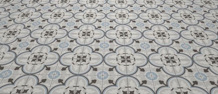 Carrelages mosa ques et galets aspect cx ciment flavie bleu 20x20 carrelage de sol aspect - Carreaux de ciment bleu ...
