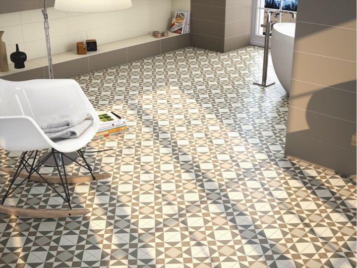Carrelage sol et mur aspect cx ciment sisal beige 20x20 for Carrelage aspect carreaux de ciment
