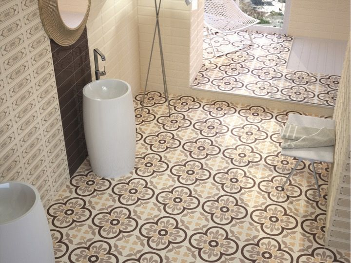 Carrelage sol et mur c ciment imitation salone beige for Carrelage aspect carreau ciment