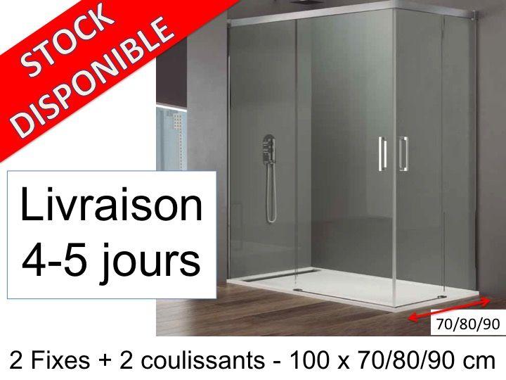 Paroi de douche longueur 100 porte de douche coulissante for Porte 70 cm de large