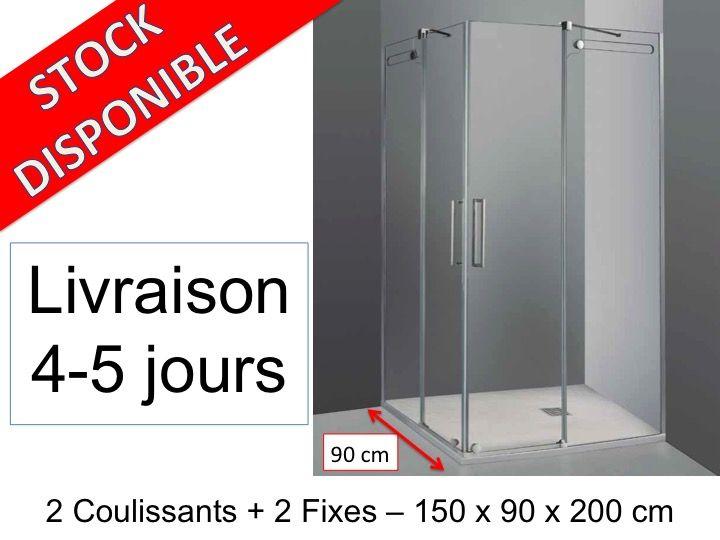 Paroi de douche longueur 150 cabine de douche 150 x 90 for Receveur de douche 100x70