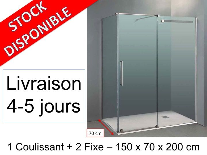paroi de douche longueur 150 cabine de douche 150 x 70 x 200 cm 1 panneau frontal coulissant. Black Bedroom Furniture Sets. Home Design Ideas