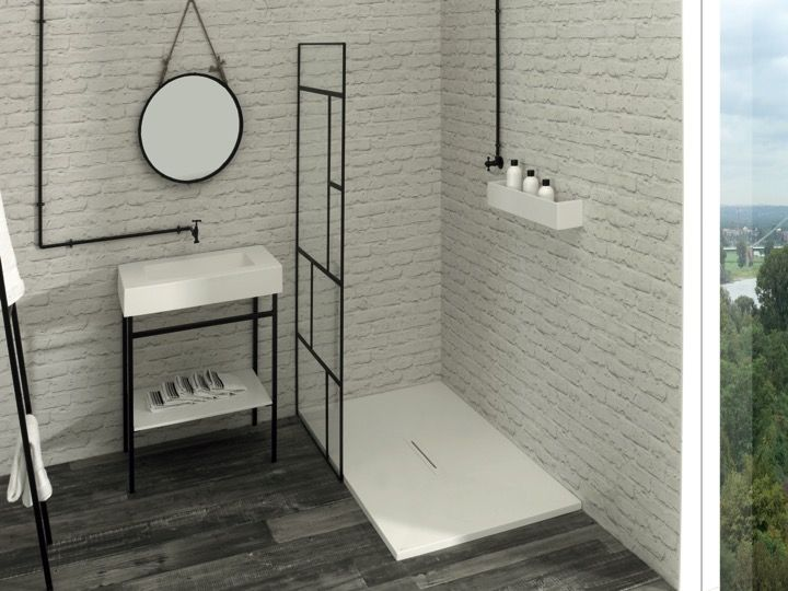 Receveur de douche design en solid surface avec bonde centrale type corian hydra - Receveur douche corian ...